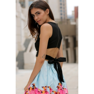 Chic Round Neck Cut Out Bowknot Decorated Crop Top  For Women -