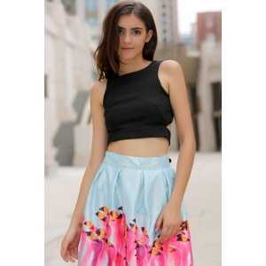 Chic Round Neck Cut Out Bowknot Decorated Crop Top  For Women - BLACK S