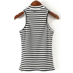 Stylish Round Neck Sleeveless Striped Print Women's Fitted Tank Top -