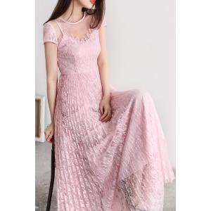 Sheer Lace Maxi Pleated Dress - PINK L