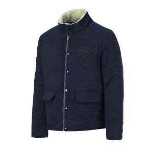 Fur Collar PU Leather Spliced Flap Pocket Long Sleeves Fitted Men's Thicken Corduroy Padded Coat - CADETBLUE 3XL