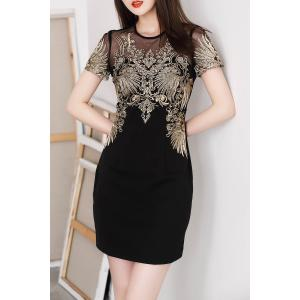 Round Collar Embroidered Mini Bodycon Dress -