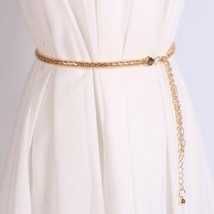 Hollow Out Tassel Snack Chain Belt - Golden