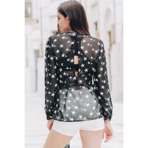 Stylish Women's See-Through V-Neck Star Print Long Sleeve Blouse -