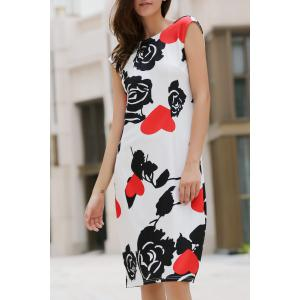 Rose Print Knee Length Formal Shift Dress - Black And White And Red - Xl