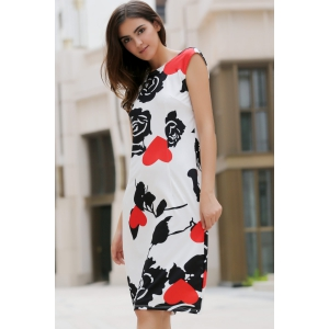 Rose Print Knee Length Formal Shift Dress - BLACK AND WHITE AND RED XL
