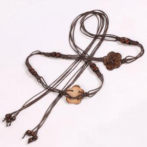 Chic Wooden Beads Flower Decorated Handmade Knitted Waist Belt For Women - COFFEE