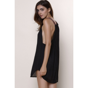 Women's Stylish Round Neck Sleeveless Black Chiffon Dress - BLACK M