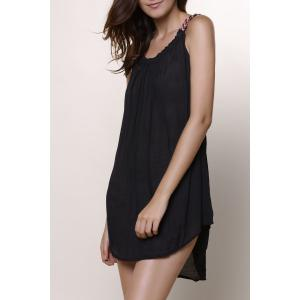 Women's Stylish Round Neck Sleeveless Black Chiffon Dress