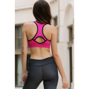 Sporty Style U Neck Racerback Push Up Hollow Out Sports Bra For Women -