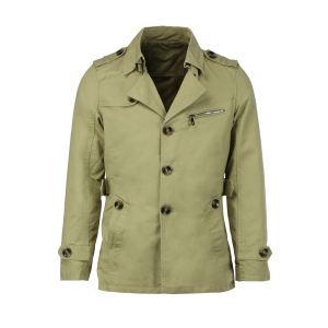 Turn-Down Collar Epaulet Single Breasted Long Sleeve Men's Trench Coat - Light Khaki - 2xl