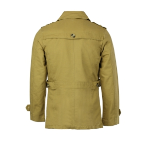Turn-Down Collar Epaulet Single Breasted Long Sleeve Men's Trench Coat -