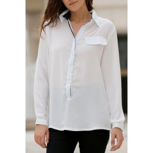 Stylish Shirt Collar Long Sleeves Loose-Fitting High Low Blouse For Women