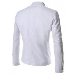 Novel Style Stand Collar Double-Breasted Slimming Solid Color Long Sleeves Men's Blazer - WHITE L