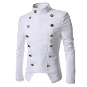 Novel Style Stand Collar Double-Breasted Slimming Solid Color Long Sleeves Men's Blazer - White - 2xl