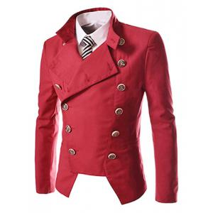 Novel Style Stand Collar Double-Breasted Slimming Solid Color Long Sleeves Men's Blazer - RED 2XL
