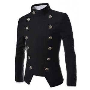 Novel Style Stand Collar Double-Breasted Slimming Solid Color Long Sleeves Men's Blazer - Black - Xl