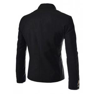 Novel Style Stand Collar Double-Breasted Slimming Solid Color Long Sleeves Men's Blazer - BLACK L