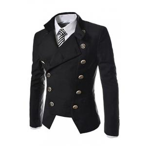 Novel Style Stand Collar Double-Breasted Slimming Solid Color Long Sleeves Men's Blazer - BLACK XL