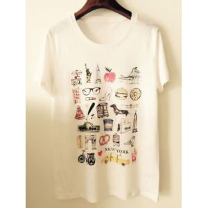 Stylish Scoop Neck Short Sleeves Print T-Shirt For Women