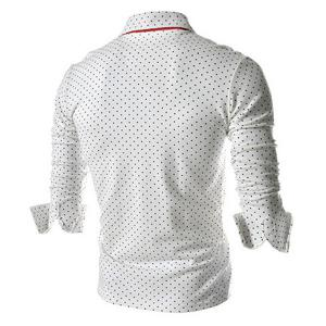 Polka Dot Print Long Sleeves Polo Shirt - WHITE M