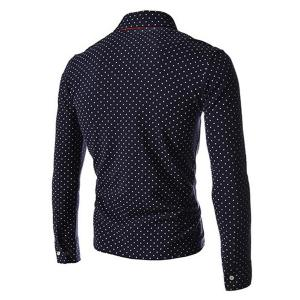 Polka Dot Print Long Sleeves Polo Shirt - CADETBLUE XL