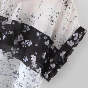 Chic Round Collar Tiny Floral Print Loose Women's T-Shirt - COLORMIX S