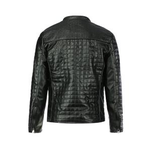 Slimming Checked Stand Collar Long Sleeve PU-Leather Men's Jacket -