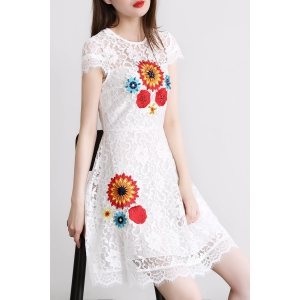 Flower Embroidered Beaded Lace Dress -