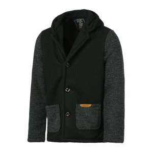 Slimming Hooded Stereo Pocket PU Leather Spliced Hit Color Long Sleeves Men's Woolen Blend Jacket - BLACK XL