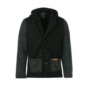 Slimming Hooded Stereo Pocket PU Leather Spliced Hit Color Long Sleeves Men's Woolen Blend Jacket