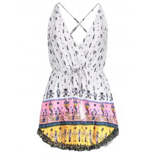 Sexy Plunging Neck Floral Printed Drawstring Dress For Women