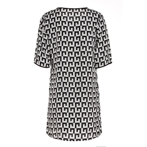 Casual Scoop Collar Short Sleeve Printed Chiffon Women's Dress -