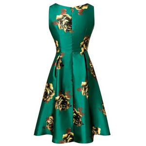 Vintage SFloral Print Skater Dress - GREEN S
