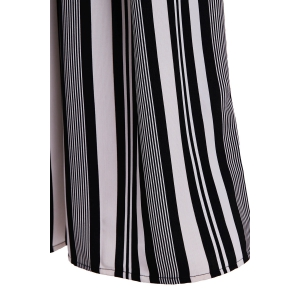 Vertical Striped Wide-Leg Palazzo Pants - WHITE/BLACK L