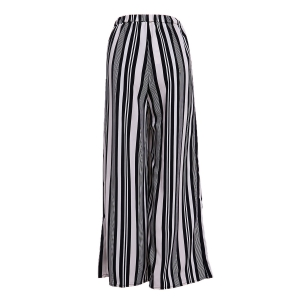 Vertical Striped Wide-Leg Palazzo Pants - WHITE AND BLACK S
