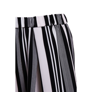 Vertical Striped Wide-Leg Palazzo Pants - WHITE AND BLACK L