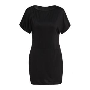 Sexy Off-The-Shoulder Half Sleeve Solid Color Women's Dress