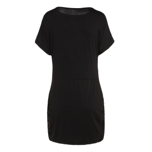 Sexy Off-The-Shoulder Half Sleeve Solid Color Women's Dress - BLACK S