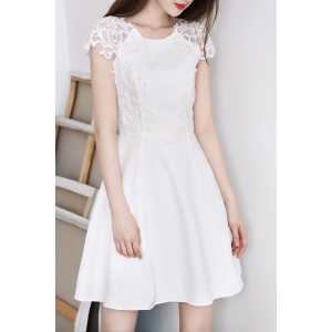 Round Collar Embroidery Solid Color Dress -