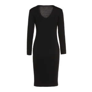V-Neck Long Sleeve Bodycon Dress - BLACK S