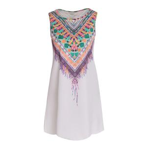 Ethnic Style Scoop Neck Sleeveless Printed Women's Dress - White - S