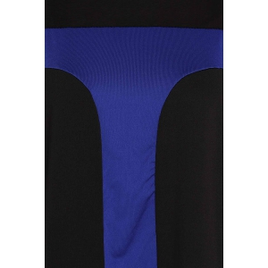 Sexy Scoop Neck Long Sleeve Color Block Bodycon Women's Dress - BLUE XL