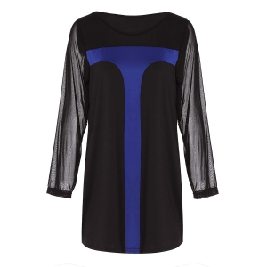 Sexy Scoop Neck Long Sleeve Color Block Bodycon Women's Dress