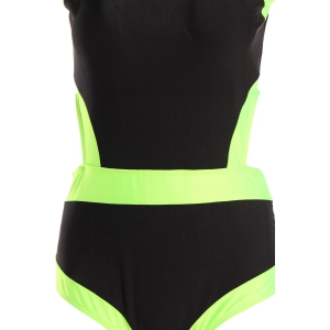 Sexy Scoop Collar Color Block Hollow Out Plus Size Women's Swimwear -