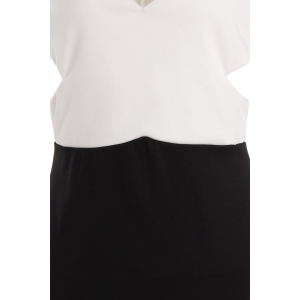 Sexy Plunging Neck Sleeveless Color Block Hollow Out Women's Club Dress - WHITE AND BLACK ONE SIZE(FIT SIZE XS TO M)