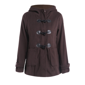 Hooded Double-Pocket Flocking Long Sleeve Long Winter Coat - Coffee - 2xl