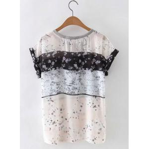 Cute Round Neck Short Sleeves Floral Print Women's Blouse -