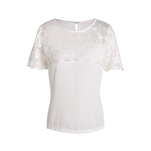 Trendy Jewel Neck Short Sleeve Lace Splicing Chiffon Blouse For Women - White - L