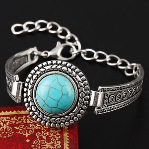 Vintage Faux Turquoise Embossed Alloy Bracelet -